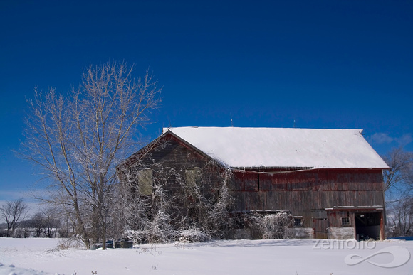 Old Frosted Red Barn